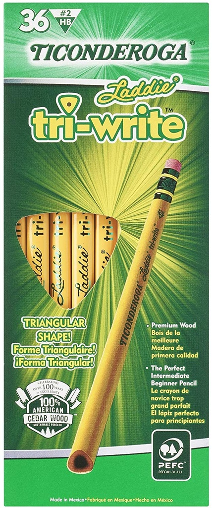 36ct No2 Triwrite Laddie Pencil with Eraser