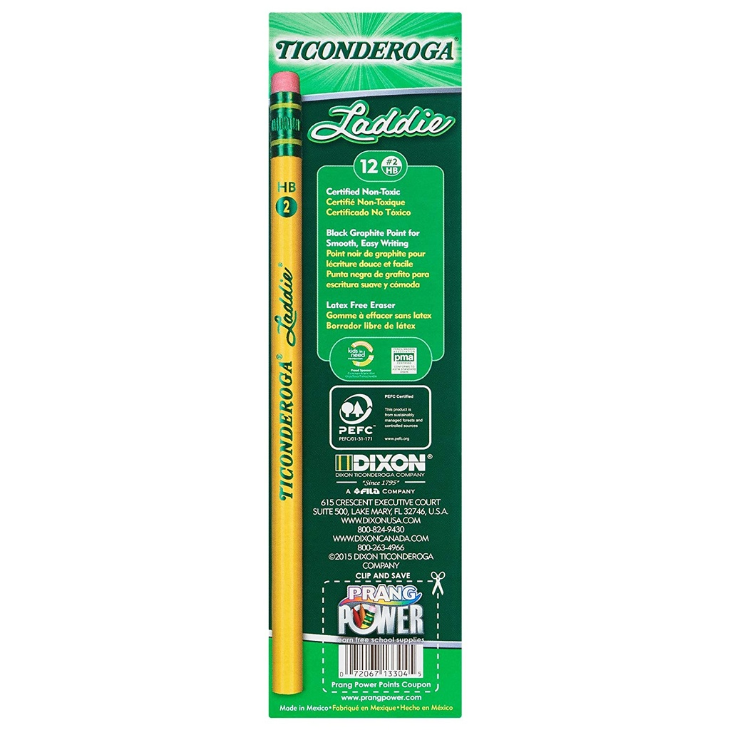 12ct Ticonderoga Laddie Pencils with Erasers
