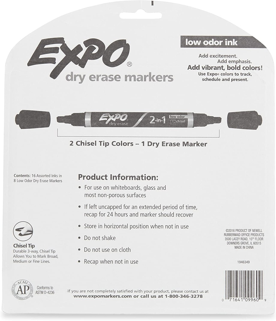 16 Color Expo Dual Ended Dry Erase Markers