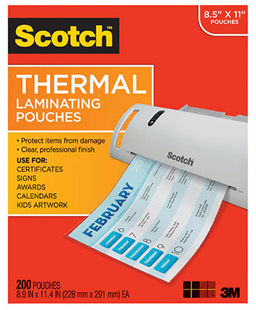 100ct Letter Size Scotch Thermal Laminating Pouches