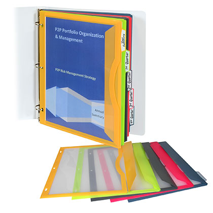 5 Tab Poly Binder Pockets with Write on Tabs