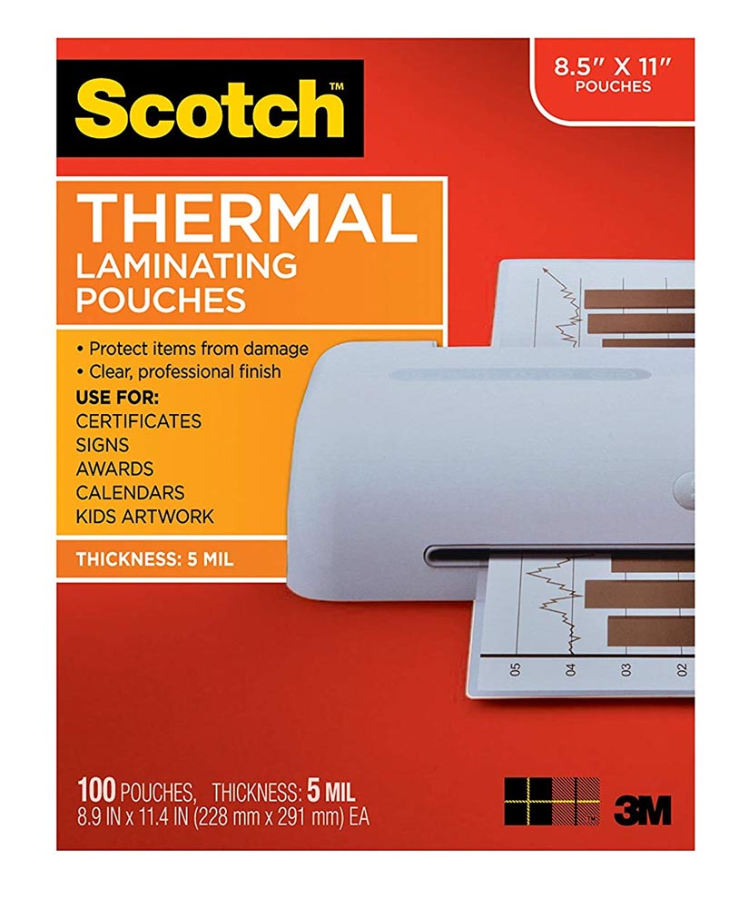 100ct Scotch 8.5in x 11in Thermal Laminating Pouches 5 mil