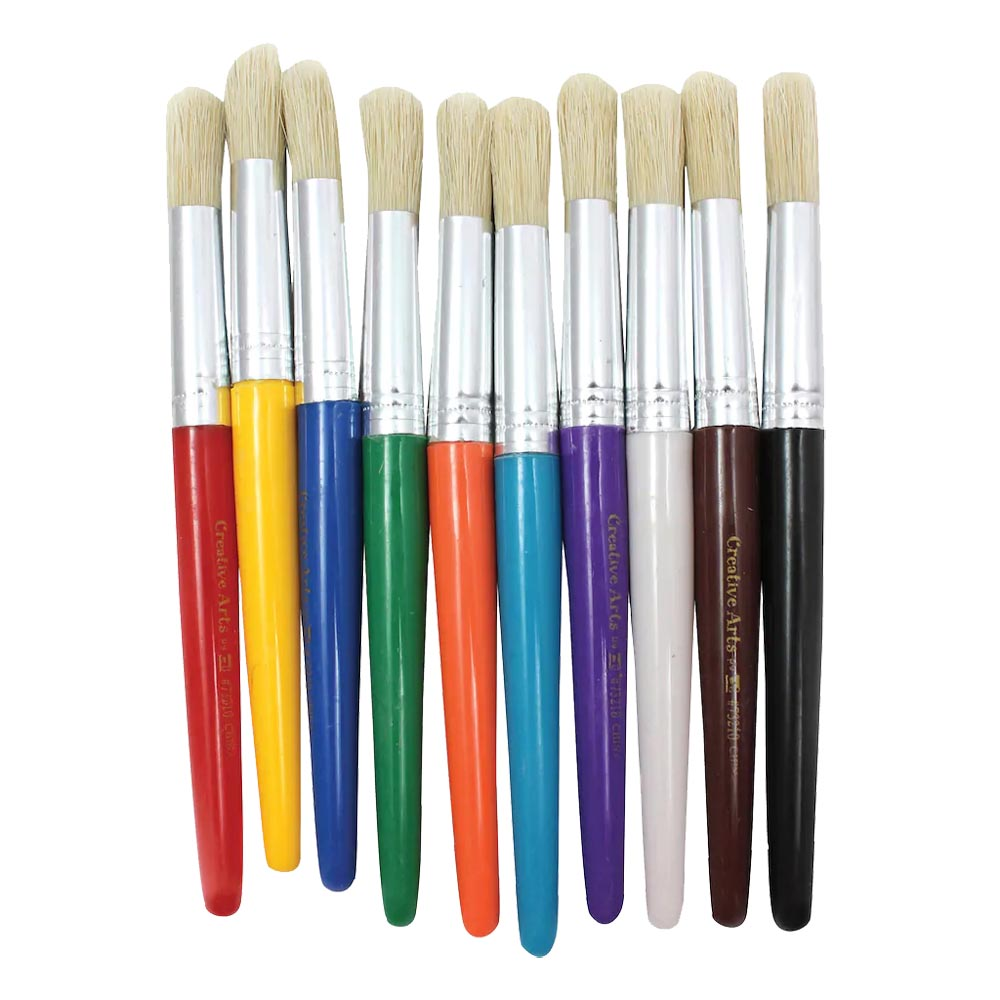 10ct Round Handle Stubby Brushes