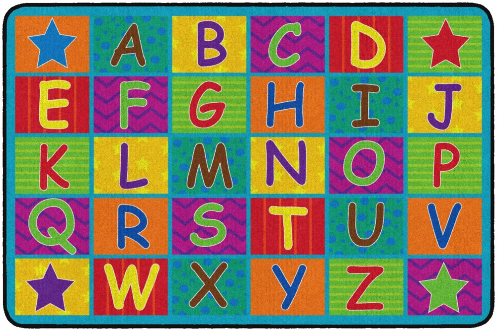 7ft 6in x 12ft  Cheerful Alphabet Carpet