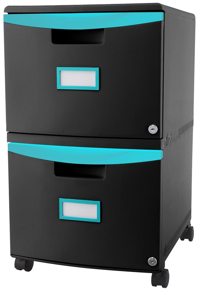 2 Drawer Mobile File Cabinet with Lock Black and Teal (61314U01C STX)