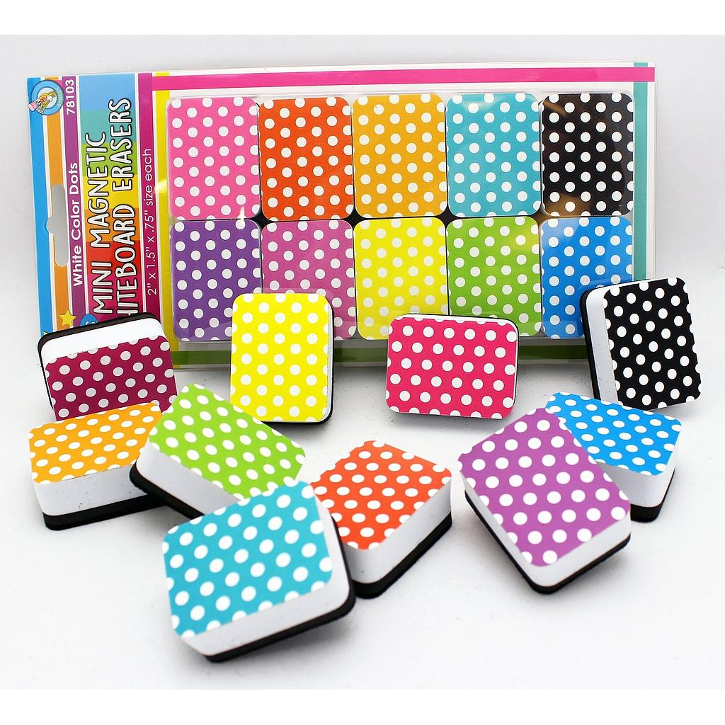 10ct Mini Magnetic Whiteboard Erasers Assorted Color White Dots