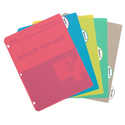 5 Tab Poly Binder Index Dividers in Assorted Colors