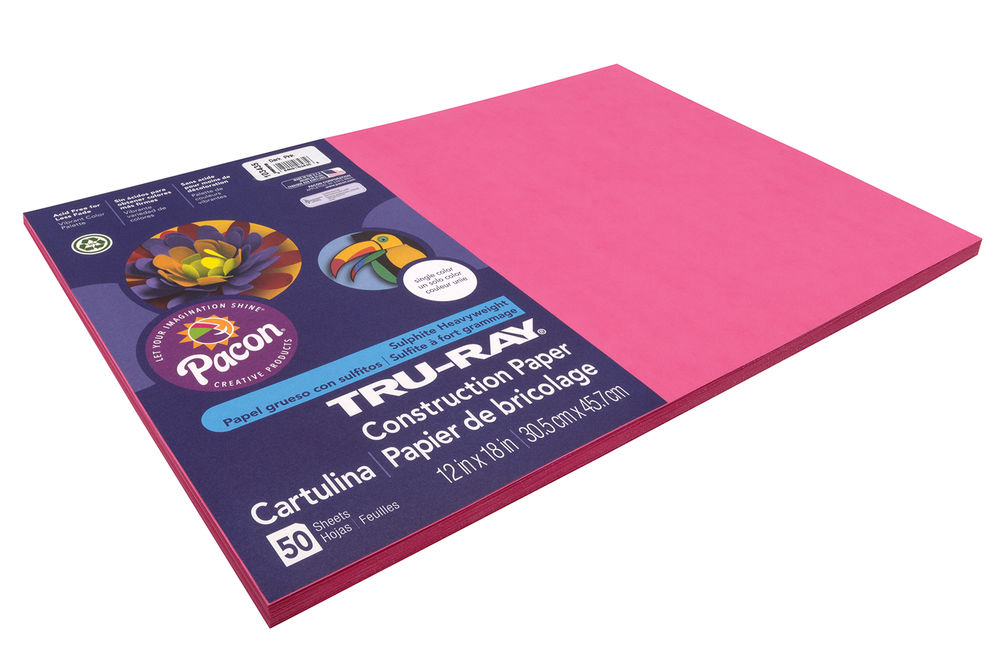 12x18 Dark Pink Tru-Ray Construction Paper 50ct Pack