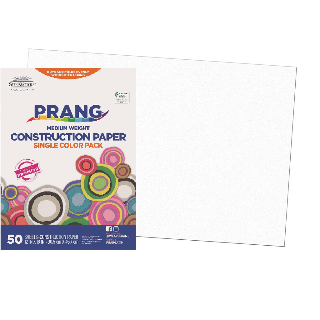 12x18 Bright White Sunworks Construction Paper 50ct Pack