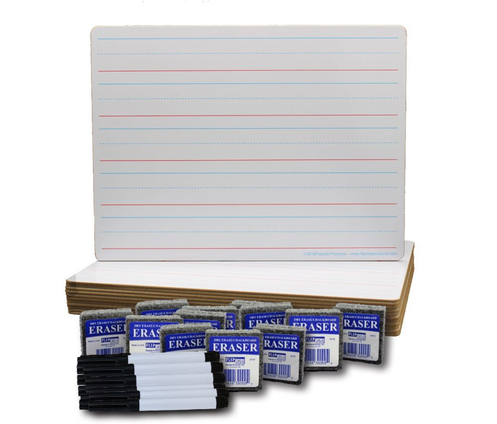 "12ct Ruled 9"" x 12"" Dry Erase Board Classroom Pack"