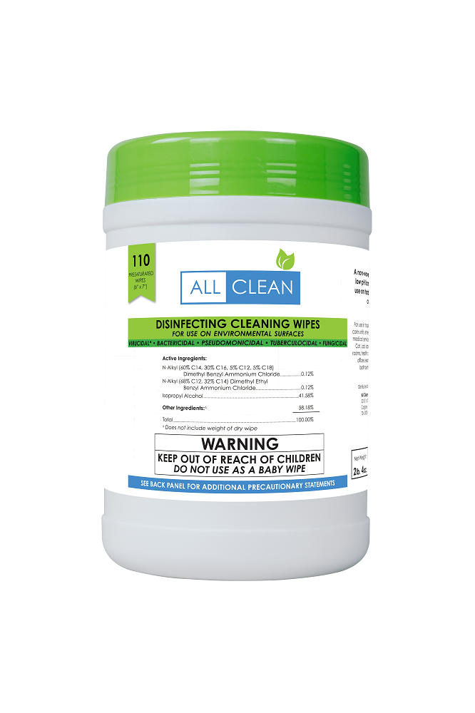 110ct tub of All Clean Natural Disinfecting Cleaning Wipes