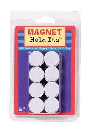 100ct 3/4in Round Adhesive Backed Magnetic Dots