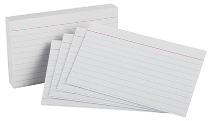 100ct 5x8 White Ruled Index Cards Pack