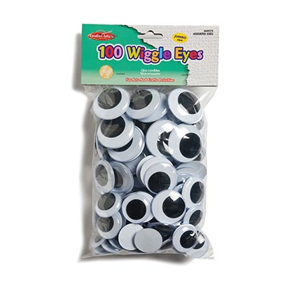 100ct Jumbo Round Black Wiggle Eyes