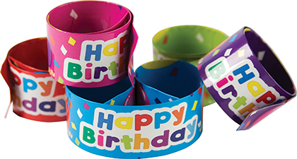 10ct Happy Birthday Balloons Slap Bracelets