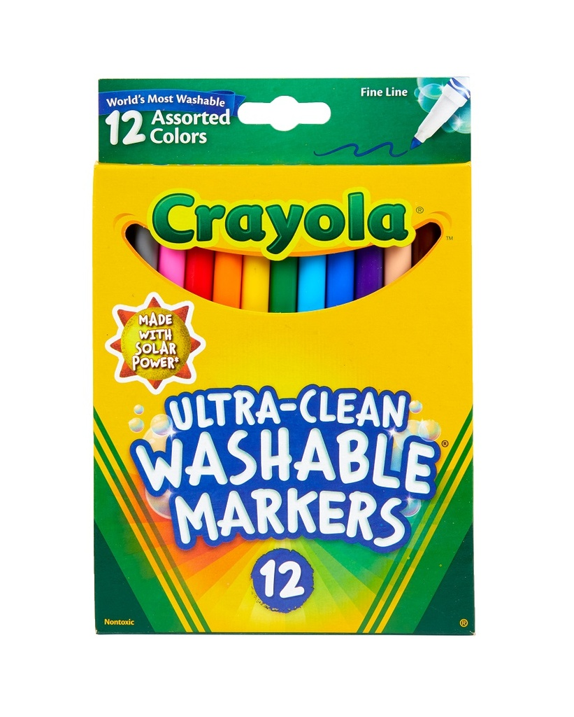 12ct Crayola Ultra-Clean Washable Markers Fine Tip