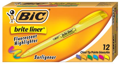 12ct Bic Brite Liner Highlighters