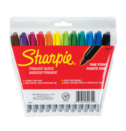 12ct Fine Sharpie Permanent Markers