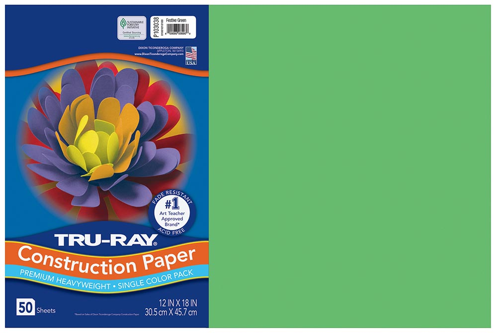 12x18 Festive Green Tru-Ray Construction Paper 50ct Pack