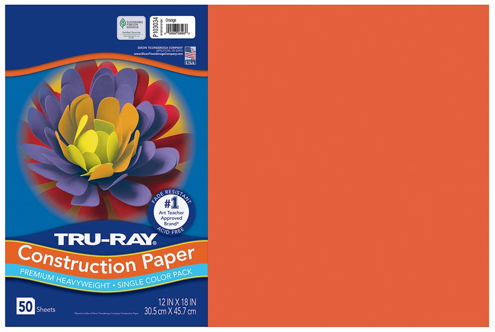 12x18 Orange Tru-Ray Construction Paper 50ct Pack