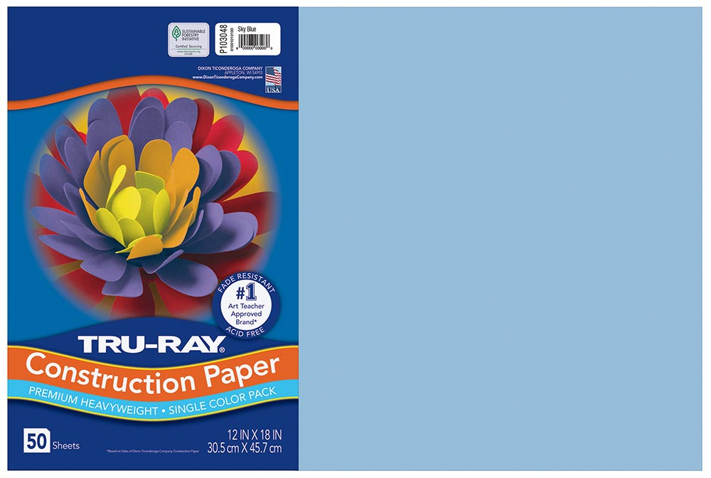 12x18 Sky Blue Tru-Ray Construction Paper 50ct Pack