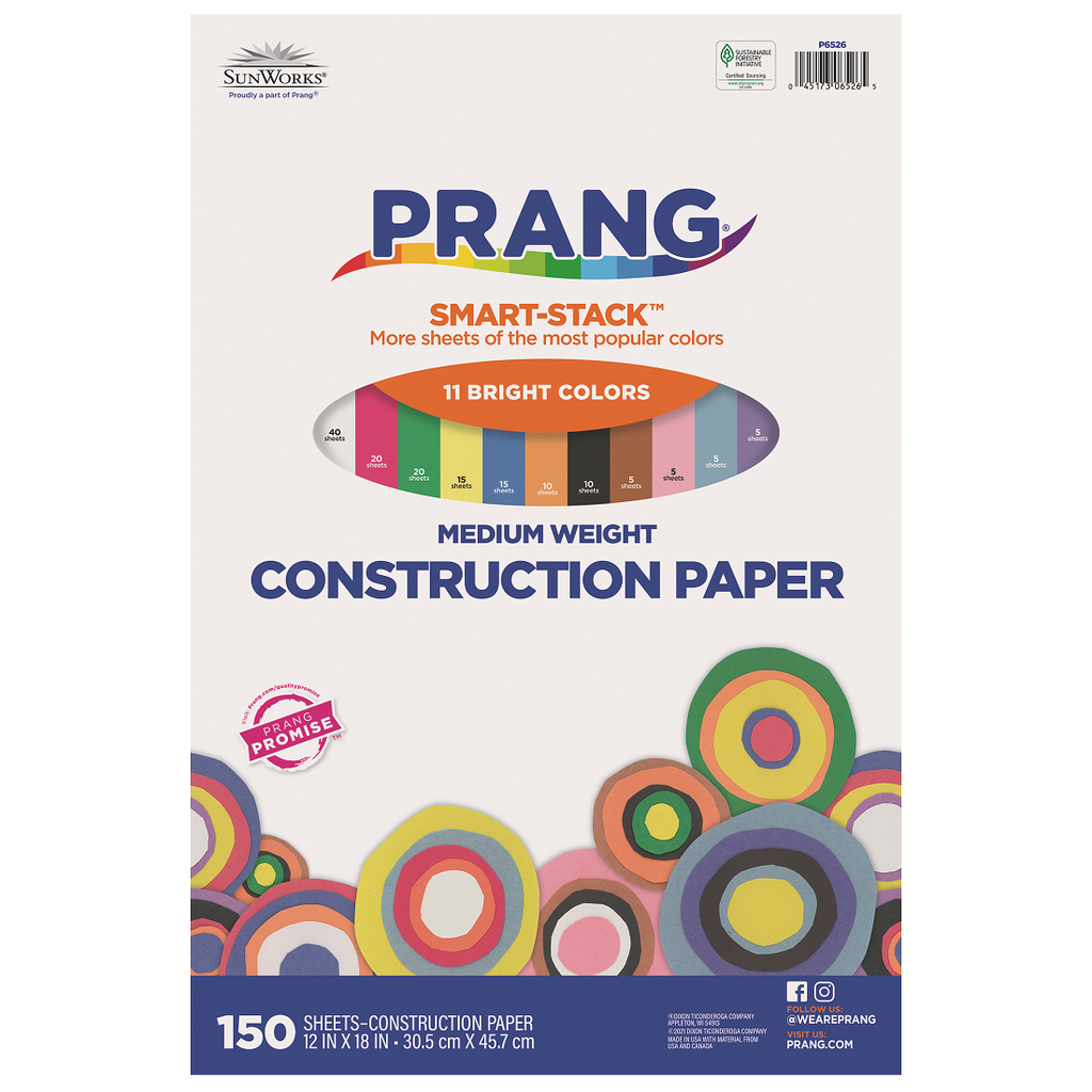 12x18 Smart Stack Assorted Sunworks Construction Paper 150ct Pack