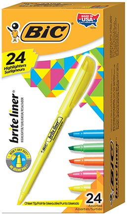 24ct Assorted Color Bic Brite Liner Highlighters