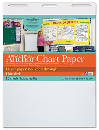 25sht Heavy Duty Anchor Chart Pad Unruled 27 x 34