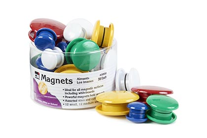 30ct Magnets Round Assorted Colors and Sizes