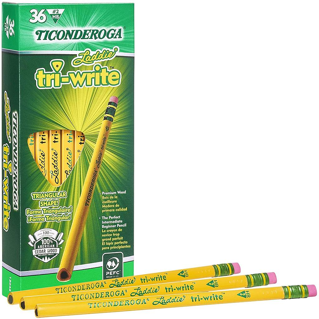 36ct No2 Triwrite Laddie Pencils with Eraser
