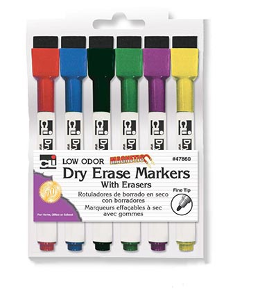6ct Fine Tip Magnetic Dry Erase Markers with Erasers