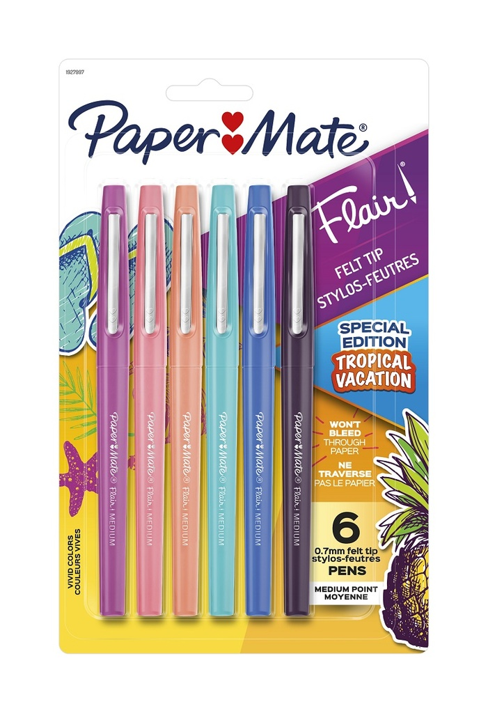 6ct Paper Mate Medium Flair Tropical Colors Pens Set