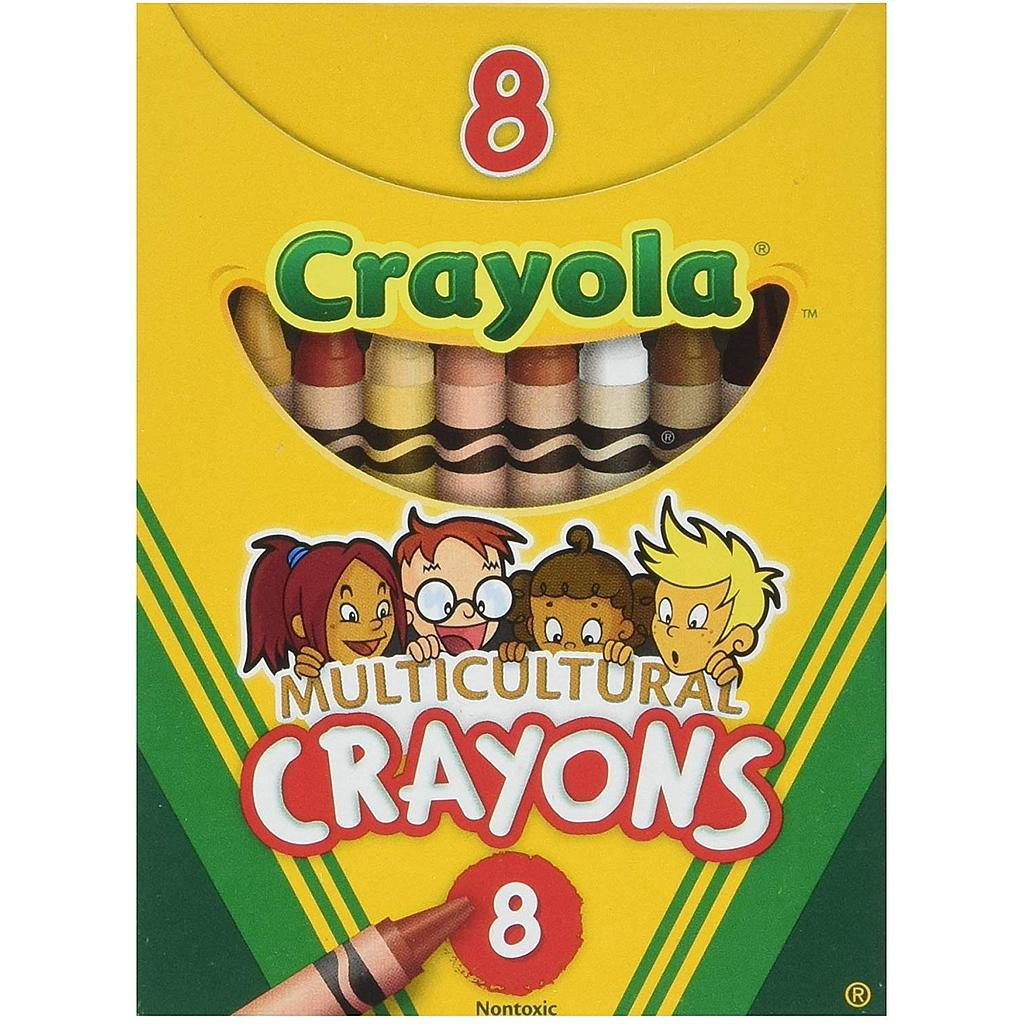 8 Ct Multicultural Crayons              Pk
