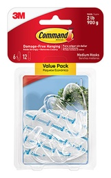 [17091CLR6ES MMM] 6ct Medium Clear Command Adhesives Mounting Hooks Pack