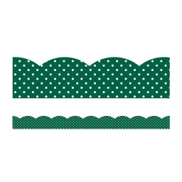 [108394 CD] Industrial Cafe Green with White Polka Dots Borders Scalloped