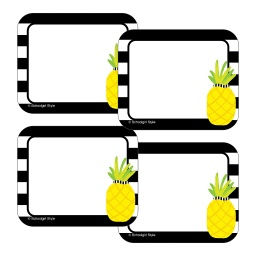 [150073 CD] Simply Stylish Tropical Pineapple Stripe Name Tags