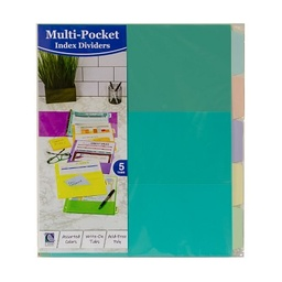 [07650 CL] 5 Tab Index Dividers with Multi Pockets