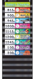 [583865 SC] Black Daily Schedule Pocket Chart Kit