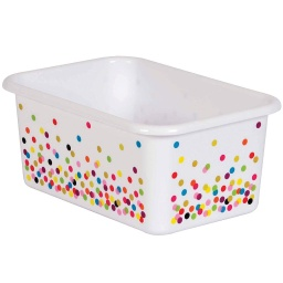 [20888 TCR] White Confetti Small Plastic Storage Bin