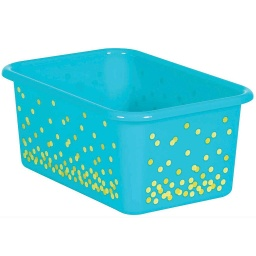 [20893 TCR] Teal Confetti Small Plastic Storage Bin
