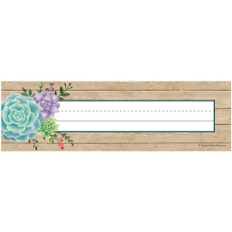 [8555 TCR] Rustic Bloom Succulents Name Plates