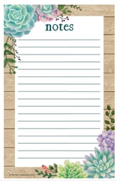 [8595 TCR] Rustic Bloom Succulents Notepad