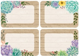 [8596 TCR] Rustic Bloom Succulents Name Tags Labels