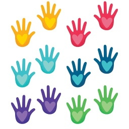 [120595 CD] One World Hands with Hearts Colorful Cut Outs - Assorted
