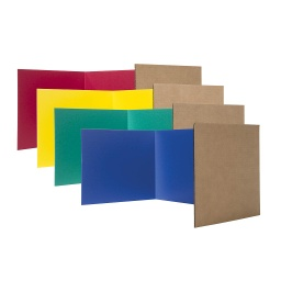 "[61245 FS] 12ct Assorted Color 12"" Corrugated Paper Study Carrel"