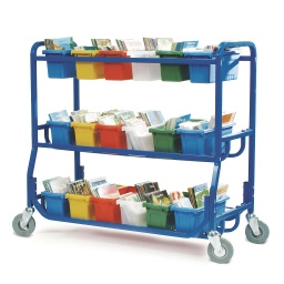 [LW43018 CPN] Library on Wheels With 18 Small Tubs