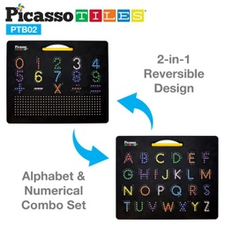 [PTB02BLK LAT] PicassoTiles Capital Number and Free Style Drawing Board
