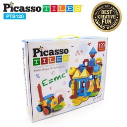 [PTB120 LAT] PicassoTiles 120 Piece Bristle Shape Blocks