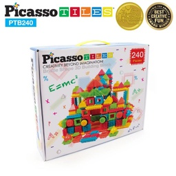 [PTB240 LAT] PicassoTiles 240 Piece Bristle Shape Blocks