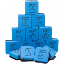 "[74549 CLI] 15ct Learning is Fun Blue & Black 2"" Foam Felt Erasers"